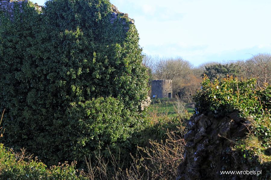 Pozostałości młyna. Widok z wnętrza zamku